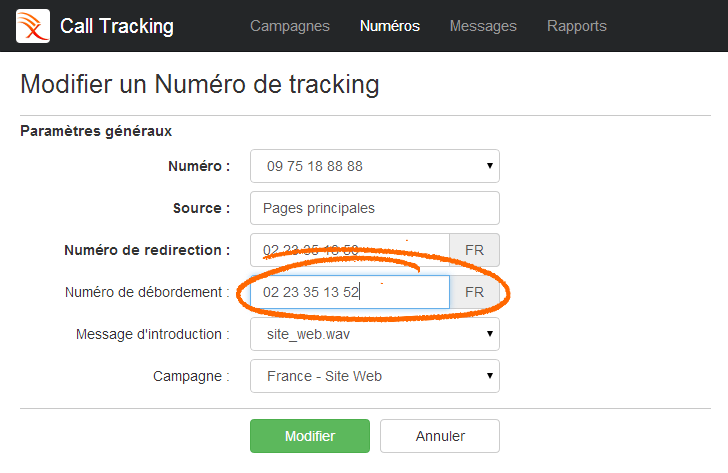 Call Tracking - Numéros de Redirection