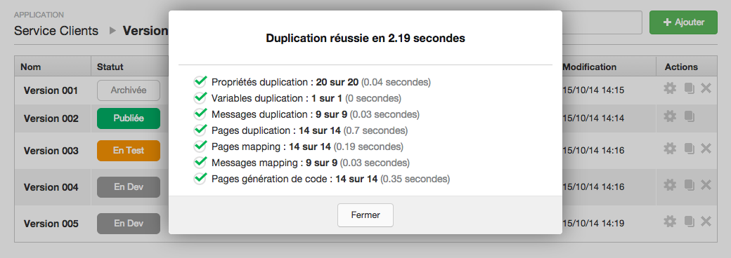 Voice Publisher : Duplication de Versions