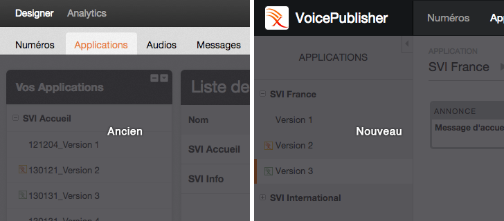 Voice Publisher : Nouvelle Topbar